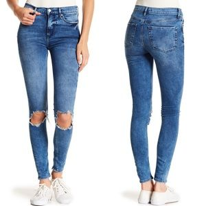 Free People Busted Knee Skinny Jeans 32S Turquoise